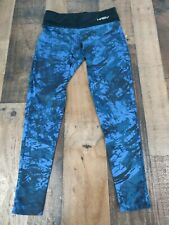 Womens Haby Blue & Black Leggings Gym Workout Run Yoga Athletic Small S