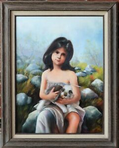 VINTAGE ORIGINAL OIL PAINTING DONNA CABUTO GIRL WITH RABBIT SIGNED