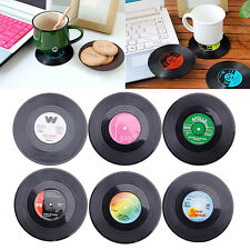 6X Retro CD Record Vinyl Coffee Drink Cup Holder Mat Coasters Tableware Placemat