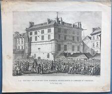 Gravure XVIIIe, Paris, Révolution française, Prison, Engraving, Berthault, 18th