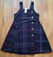 Ladies BNWT YOURS Pinafore Tartan Print Dress, with Stretch UK 18,(also fit16)