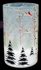 New Yankee Candle Winter Birch Forest Crackle Glass Large Jar Holder