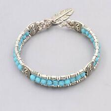 Bracelet Femme Argent Turquoise avec Plume