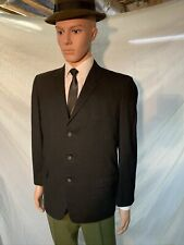 New listing Vintage 1950s Curlee Clothes Black 3 Button Wool Sport Coat Blazer Jacket 41