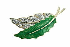Brooch with crystals Two Leaves 8 x 4.7 cm #0729