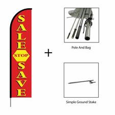 Sale Stop Save Feather Flag Swooper Banner Pole Kit Advertising Sign, 15ft - Red