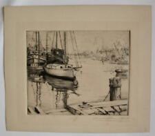 1917 Etching THAMES ESTUARY BOATS Arnold Mountfort sgnd listed BRITISH Painter