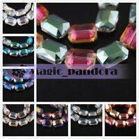 New Charm 5pcs 26x18mm Rectangle Square Faceted Crystal Glass Spacer Loose Beads