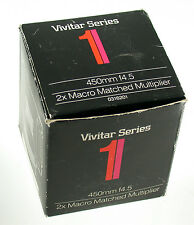 Vivitar Series 1 2x macro matched multiplier 4,5/450 450mm f4, 5 450 NIB NUOVO OVP