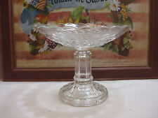 Vintage Clear Early American Pressed Glass Thumbprint Pedestal Open Compote