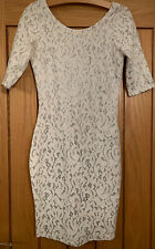 River Island White & Silver Lace Bodycon Party Dress - Size 10
