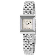 Gucci G-Frame Silver Guilloche Dial Stainless Steel Ladies Watch YA128402
