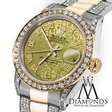 Women's 31mm Rolex Oyster Perpetual Datejust Custom Diamonds Gold Jubilee Roman