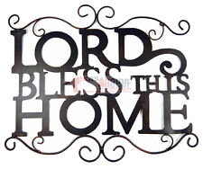 """Lord Bless This Home Tin Metal Wall Plaque Ornate Accents Curls Rustic 21.5x18"""""""