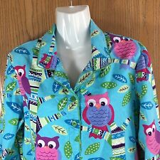 Nick & Nora Size Small Flannel Owls Nightgown With Pockets Blue Pink Green