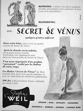 PUBLICITÉ PARFUMS WEIL PARIS SECRET DE VÉNUS QUELQUES GOUTTES SUFFISENT