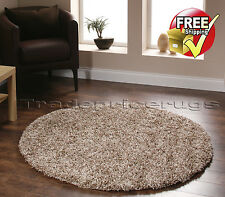 Large Light & Dark Beige 2 Tone Mix Thick Vista Shaggy Rug Circle Round 133cm