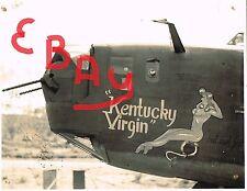 "WWII 8X10 PHOTO NOSE ART B-24 BOMBER 5TH USAAF ""KENTUCKY VIRGIN"" CLOSE UP LOOK"