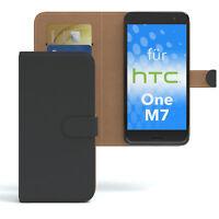 Tasche für HTC One M7 Case Wallet Schutz Hülle Cover Schwarz