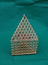 Metal T-light Triangular Holder Gold Home Decor Christmas Wedding 15x15x26cm NEW
