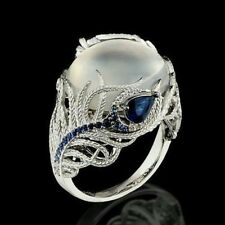 Beauty Blue Peacock Feather Moonstone Silver Women Wedding Anniversary Ring Gift