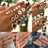 6Pairs Fashion Rhinestone Crystal Earrings Women Boho Ear Stud Jewelry Set Gift