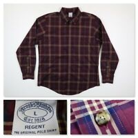Brooks Brothers Regent Mens Large Burgundy Plaid Long Sleeve Button Sport Shirt