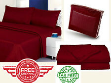 Bed Quality Sheet 4Piece Set Dobby Stripe Cotton Sateen Twin Queen King Burgundy