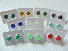 Hand made silver plated sea glass stud earrings - Choice of pretty colours
