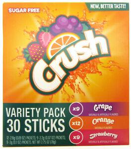 Variety Pack Crush ~ 30 Packets Per Box ~ Sugar Free ~ Drink Mix w/strawberry