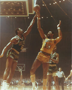 BILL RUSSELL WILT CHAMBERLAIN CELTICS LAKERS 8X10 PHOTO WITH ULTRA PRO TOPLOADER