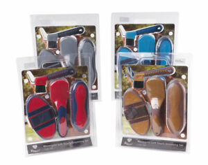 Rhinegold Complete Soft Touch Horse Pony 4pc Grooming Kit Red Blue Grey Gold