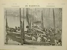 1903 PRINT IN THE HARBOUR NORMANDY FISHER FOLK IN BOATS FISHERMEN