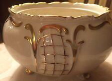 Sorau Carstens Porzellan 50 Three Footed 4x7 Low Round Cream & Gold Vase Bowl