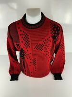 London Fog M Wool Vintage Red Black Men's Sweater Made In USA Coogi Type 90s