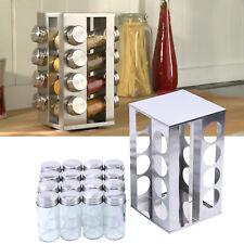 16 Jar Rotating Spice Rack Kitchen Seasoning Rack Stainless Steel Stand Holder
