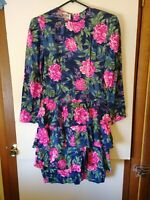 Vintage Maggy London Silk Floral Dress, Fit & Flare Tiered, Back Zip, #2408