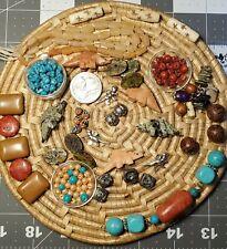 5 Zuni pocket fetish beads & more!  Hand carved Stone Coral Howlite & Bone!
