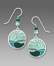 Adajio Earrings Aqua Green Disc 'Breaking Wave' Overlay Handmade in USA