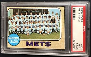 1968 TOPPS #401 NEW YORK METS TEAM PSA 9 MINT MC LOW POP ONLY 33 10s, 129 9s