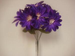 """Dahlia Bush 9 Artificial Satin Flowers 19"""" Bouquet 9004"""