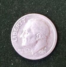 USA ERROR OFF CENTER 1989-P US ROOSEVELT DIME COIN 10 CENTS MISALIGNED