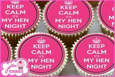 24 x KEEP CALM HEN NIGHT MIXED PINK EDIBLE CUPCAKE TOPPERS CAKE RICE PAPER 8428