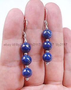 6mm Dark Blue Lapis Lazuli Gemstone Chandelier Silver Leverback Dangle Earrings