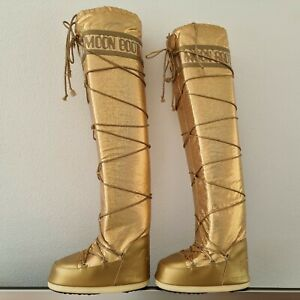 MOON BOOT OVERKNEES OVERKNEE STIEFEL BOOTS WINTER GOLD LIMITED EDITION