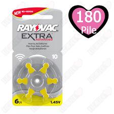 180 Pile Batterie protesi acustiche apparecchi acustici RAYOVAC 10 Gialle PR70