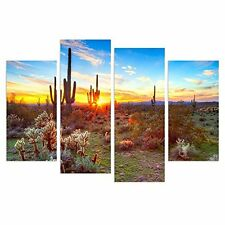 Wall Art North American Sonoran Desert Botanical Cactus Picture Print On Canvas