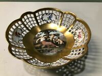 BEAUTIFUL Vintage KPM Porcelain Fruit Bowl Hand Painted Raised Gold UNIQUE RARE