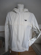 Roxy cream white wind proof water resistant zip up Parka Hoodie Jacket size S