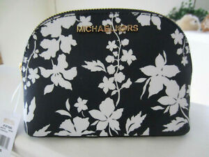 Michael Kors Jet Set Large Travel Pouch Cosmetic Case Nave White Floral $98